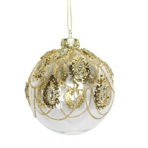 Gisela Graham  Clear Gold Glass Ball w Gold Glitter Swags
