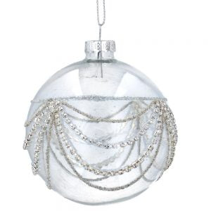 Gisela Graham Clear Glass Ornament with Silver Bead Swag detail